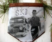 Vintage Skier - Smokin on the Slopes - Rusty Tin - Vintage Ski - Ski Decor - Guy - Old Truck - Vintage Photo - Skier - Dad - Cabin - Rustic