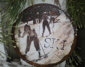 Vintage Girls Downhill Skiing - Snowplow - Christmas Ornament - Rusty Tin - Vintage Ski - Gift Tag - Women Ski - Ski School