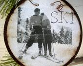 Love on the Ski Slopes - Christmas ornament - Vintage Ski - Ski Ornament - Gift Tag - Valentine - First Christmas - Winter Wedding - Skier