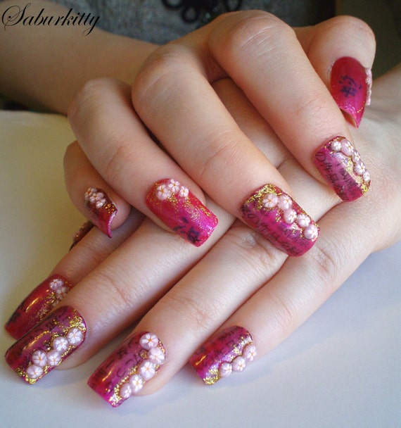 Japanese Nail Art: Items Similar To Flower Nail Art Japanese Cherry Blossom