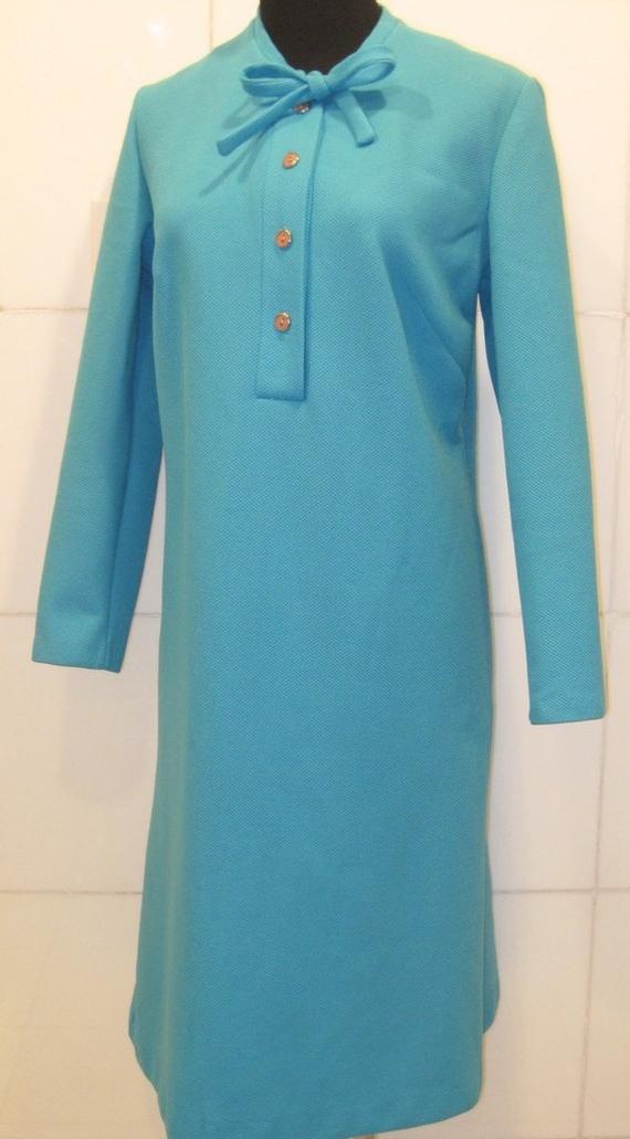 Vintage 1960s Dress / Turquoise Day Dress /  Med