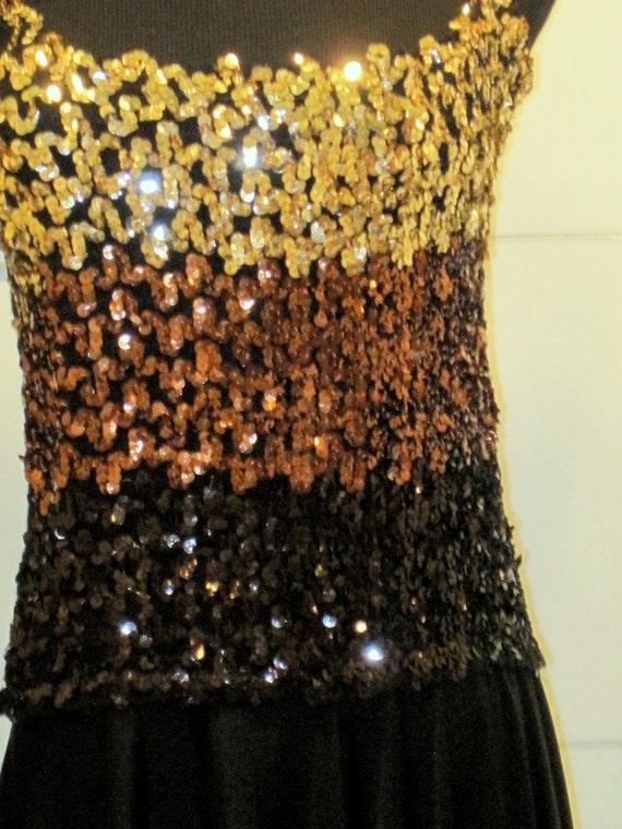 gold bronze black SEQUIN dress with hankerchief bottom