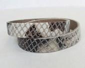 Cream Brown Snake Pattern Leather Narrow Double  Wrap  Bracelet