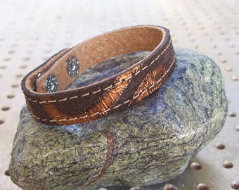 Brown With Bronze Pattern Leather Bracelet