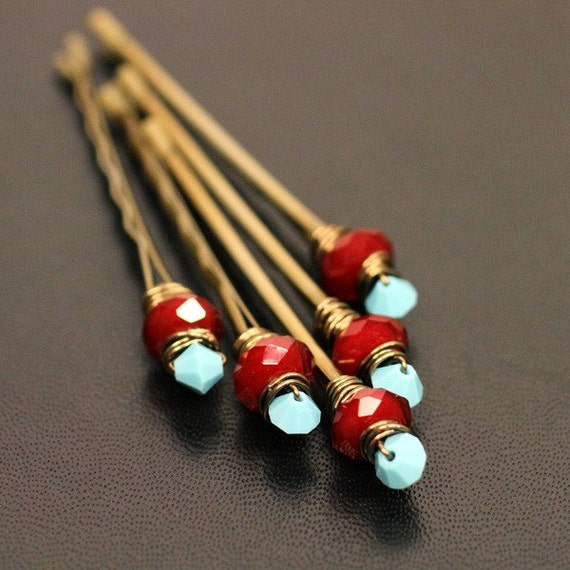 Cleopatra Ruby, Bridal Hair Accessories, Wedding Hair Accessory, Blood Red Gemstone and Blue Turquoise Crystal Brass Bobby Pin - Set of 5