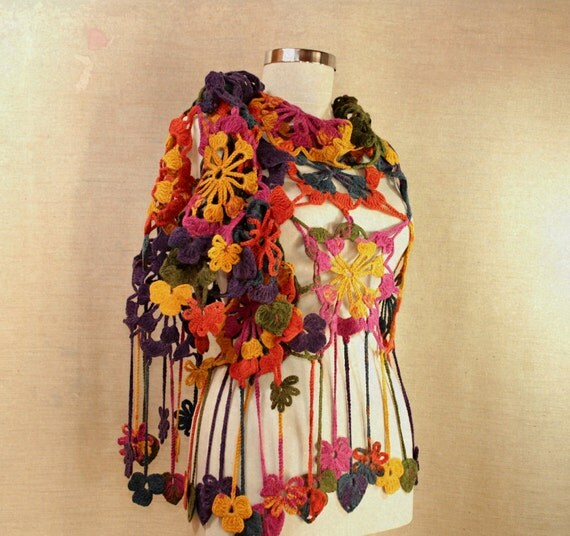 How Lovely Is My Rainbow / Crochet Shawl Wrap Lace Shawl Scarf Neck Warmer Purple Pink Yellow Green Blue Flower Shawl