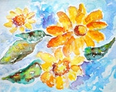 Colorful Flower Art, Floral print, Sunflower Painting, Bedroom Wall Art, Orange, Blue, Colorful, sunflowers, watercolor print, Bedroom Decor