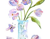 flower watercolor print, amethyst art, bathroom wall art, tulips, amethyst decor, turquoise - Keeping Spring 6