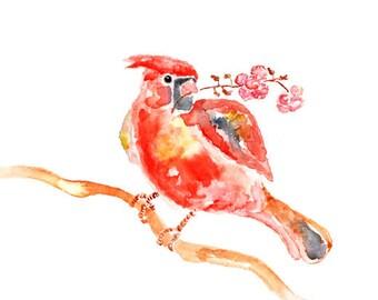 Cardinal, Bird Print, Print of Cardinal Painting, Cherry Blossom Print, red, pink, wall decor, girls room decor, girls wall art
