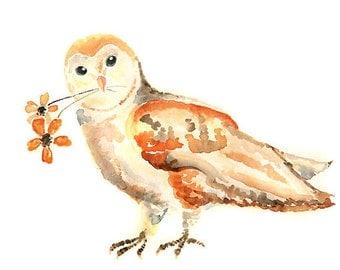 watercolor owl, print, Halloween Decor, Woodland Themed Nursery, Orange, Halloween Print, Owl Painting, watercolor bird, Nursery Decor