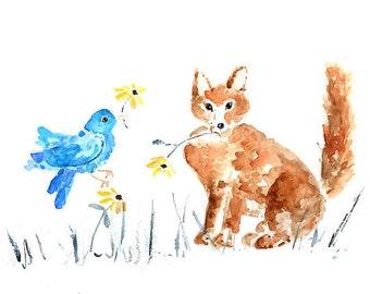 woodland nursery, Fox Print, gender neutral nursery, nursery art, Nursery Animal Painting, kids wall art