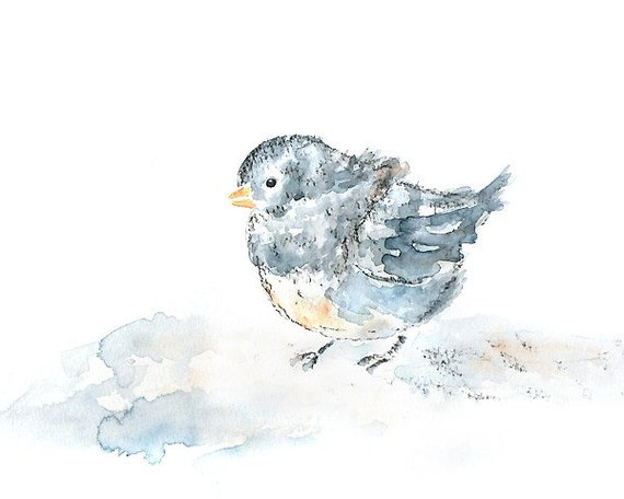 Winter Bird Art, Junco, Winter Decor, Bird Print of Watercolor Painting, blue, grey, bird nusery, Watercolor Animal, baby wall art