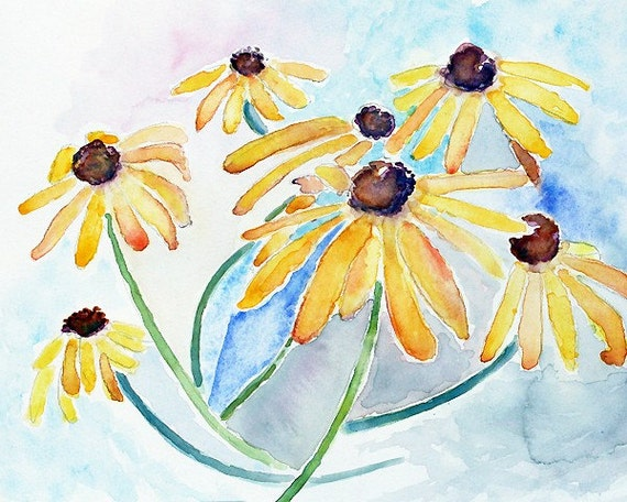Black Eyed Susan Art Print of Watercolor Flower Painting Yellow Flowers Watercolor  Pastel Wall Art Bedroom Wall Decor
