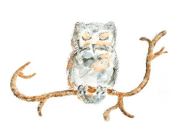 Woodland, Nursery Art, Owl Print, Owl Painting, Gender neutral Nursery, Woodland Nursery Decor- Sleep Puff, 8x10