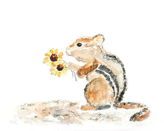 "Whimsical, Woodland Nursery Print, Animal Painting, Chipmunk, Kids Wall Art, Woodland Nursery Decor - ""For You Sweet Fluff"""