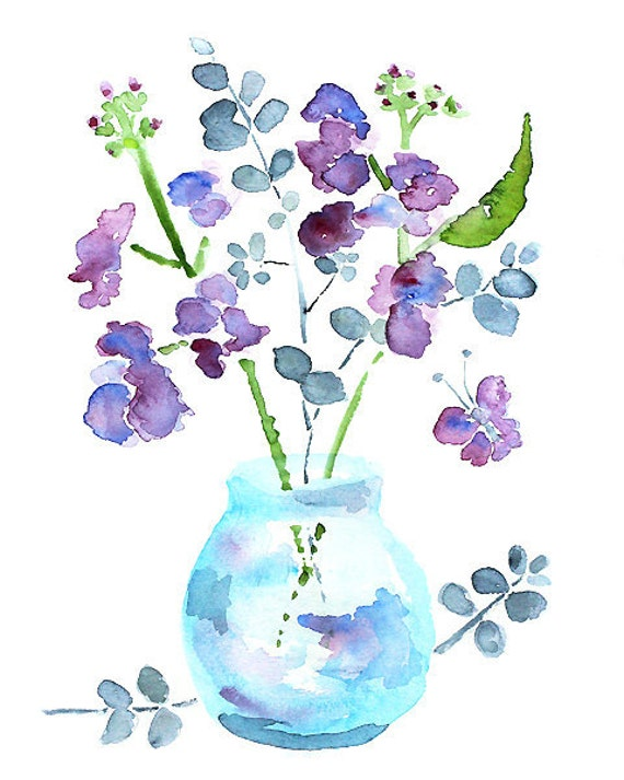 watercolor flower bathroom art bathroom wall decor watercolor painting purple butterfly art blue green keeping spring 9