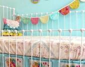 Custom Crib Bedding - Bumperless Crib bedding- Square Dance Dream