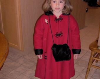 Custom Made Swing Style Wool Dress Coat for Girls Sizes 3-8