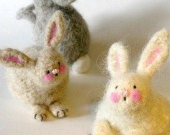 PATTERN-BOOKLET. A Knit & Felt Wool Bunnies Pattern