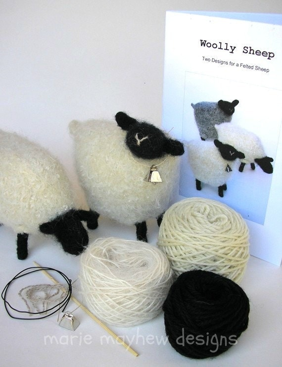 Knitting Pattern Wool Kits : KIT-PATTERN. A Knit & Felt Wool Sheep Pattern and Kit