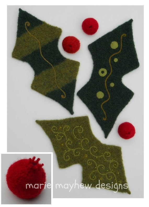 PATTERN-BOOKLET. A Knit & Felt Wool Holly Leaf and Berries Pattern