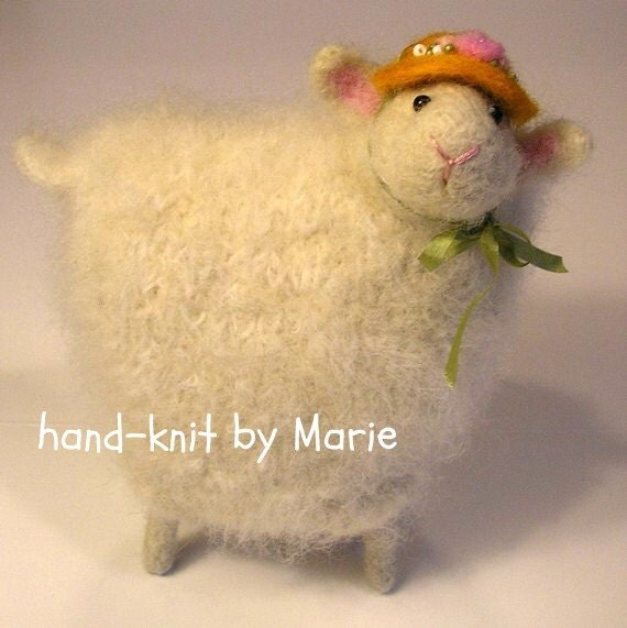 HAND-KNIT. Wool Knitted & Felted Lamb with Bonnet