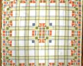 Vera Geometric Prairie School Square Scarf - Chartreuse Orange Gray White