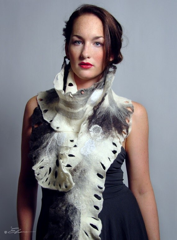 Felted Fine Art Scarf, Night and Day | Eco Fashion in Harmony with Nature | Made to Order