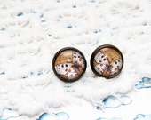 Brown and white Butterfly Vintage Stud Earrings