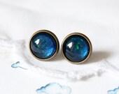 Blue as an Ocean can be - Deep blue and Metallic Green Glitter Stud Earrings - (N022)