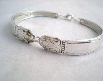 Spoon Bracelet,  Bridesmaid Spoon Jewelry, FREE CUSTOM ENGRAVING, Silver Bracelet, Vintage Wedding, Bridesmaid Gift Danish Princess 1938