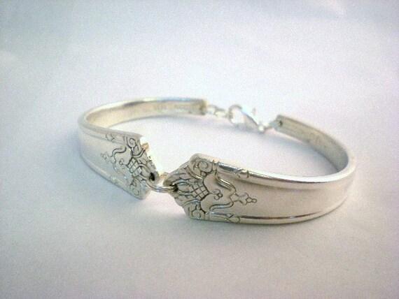 Spoon Bracelet, FREE ENGRAVING Vintage Wedding, Bridal Jewelry, Free Engraving, Silverware Jewelry, Silver Bracelet  Her Majesty 1931