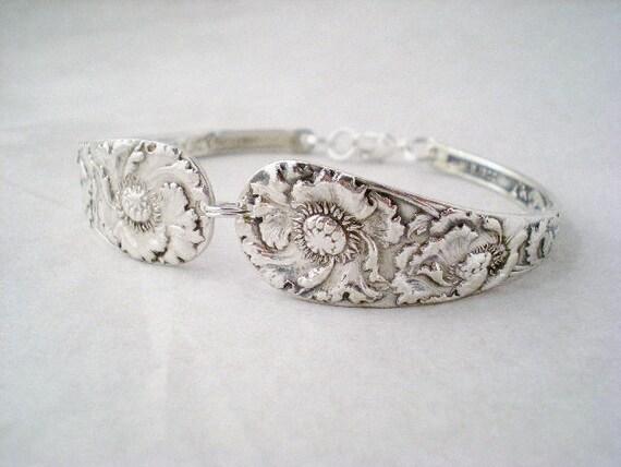 Spoon Bracelet, Poppy Flower, Silverware Jewelry, Vintage Wedding, Bridesmaid Gift, Vintage Silverware  POPPY 1934