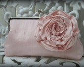 Bridal Clutch, Bridesmaid Clutch, Blush Pink Clutch, Evening Purse, Floral Purse, Wedding Clutch {Blooming Rose Kisslock with Grand Rose}