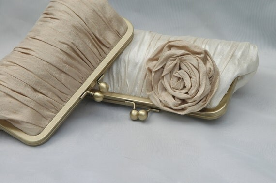 Wedding Clutch, Champagne Clutch, Bridal Clutch, Bridesmaid Purse, Formal Bag (CHOOSE YOUR COLORS)  {Gathered Kisslock w/ Rose}