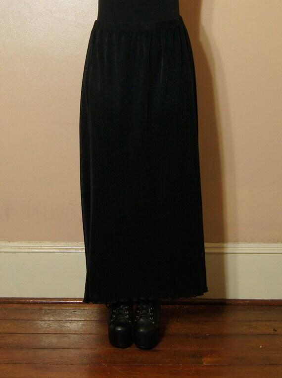 90s Goth Black Maxi Skirt SALE Large Medium Grunge Witchy Knife Pleats Vintage Elastic Waist