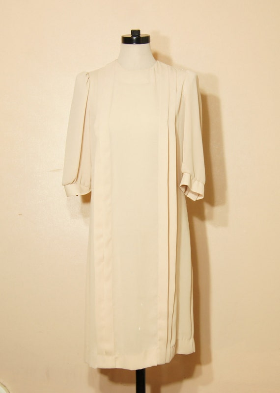 70s Sheer Dress Medium Large Mod Beige Neutral Minimalist Vintage PaneledClassy Sophisticated