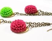 Mini Chartreuse and Raspberry Mum Earrings