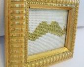 Golden Tinsel Mustache Framed Cross Stitch
