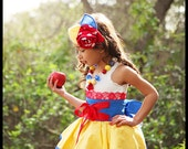 Snow White inspired Dress Up Costume Apron, Half Apron style...Made to order