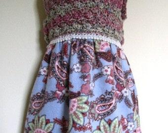 SALE Girls Jumper Dress Toddler Prairie Flannel Crochet Paisley Blue  - Size 24 Months