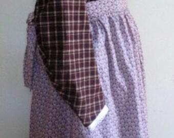 Civil War Dress 4 pc Victorian Reenactor Flannel Plaid Reproduction  - Size Medium