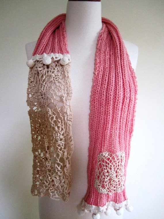 SALE Pink Scarf Hand Knit Wool Ladies Victorian Vintage Crochet Lace Shabby Chic - Size Medium