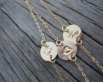 Initial Bracelet Gold Initial Bracelet Initial Jewelry Disc Bracelet Gold Disc Bracelet Custom Initial Jewelry Hebrew Bracelet Kabbalah Disc
