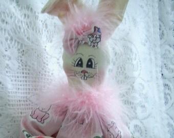 Bunny Rabbit PinHead Happy Face Bunny Doll Pink