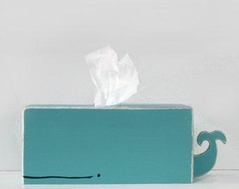 PRE-ORDER SALE: Whale Tissue Holder - Cyan - Ships Feb 23rd -24th / nautical theme, bathroom decor, whale, nursery, baby shower gift, unisex