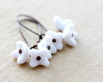 White earrings dangle earrings white milk glass earrings flower earrings boho earrings boho jewelry bohemian earrings bridal earrings gift