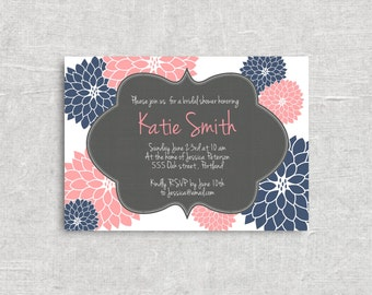 Navy & Pink Floral Bridal or Baby Shower Invitation - Choose your Colors - Printable Digital File.