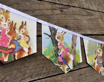 The TALE of PETER RABBIT Banner Baby shower gift Vintage Little Golden Book Bunting Eco Friendly Repurposed Children's Decoration Easter
