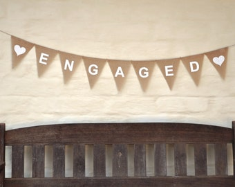 ENGAGED Banner Hessian Burlap Wedding Celebration Engagement Party Banner Bunting Decoration hens party bridal shower